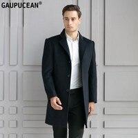 Mann Wolljacke Lange Qualität Formale Geschäfts Schwarz Einreiher Taste Männlichen Graben Taschen Mantel Warm Männer Wollmantel