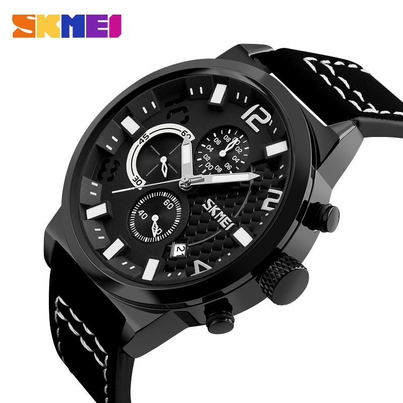 Hot Sales! Original SKMEI Men Quartz Watches Man Luxury Leather Strap Fashion Sports Style Waterproof Stop Watch Date Clock 9149 skmei faux leather strap date watch