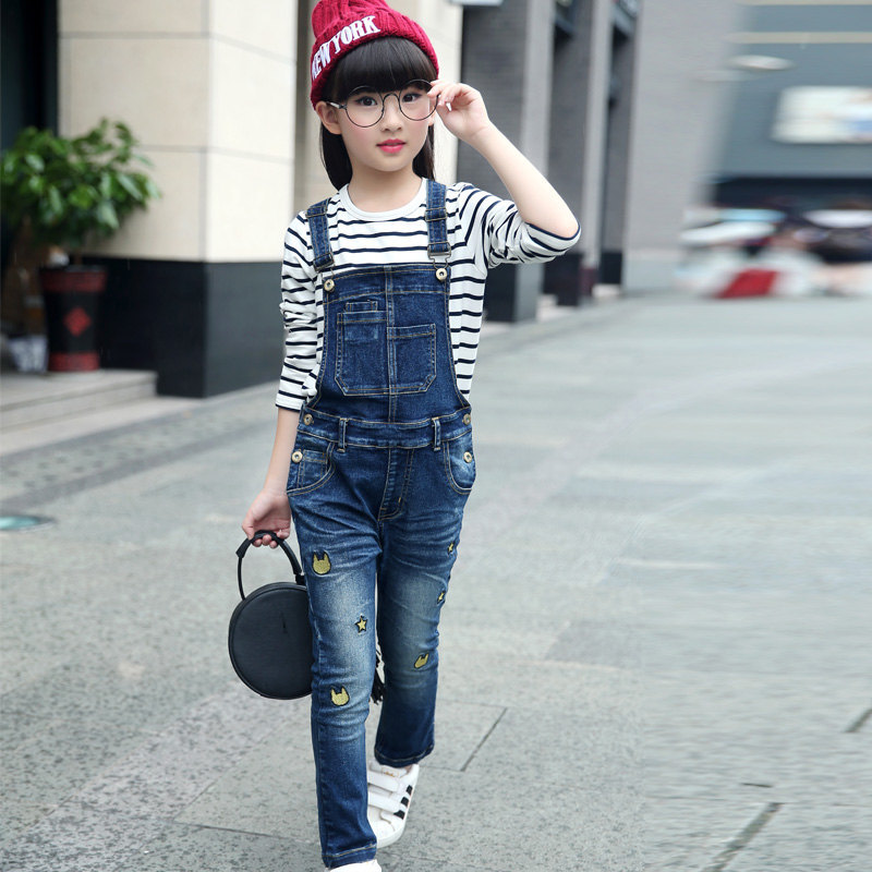Spring Autumn Kids Girl Rompers Child Denim Jumpsuits Children Jeans Pants for Girls Overalls Fox Head Print Girl Denim Overall loose style autumn denim overalls for kids girls 2016 new style children girl blue jeans elegant jumpsuit female denim bib pants