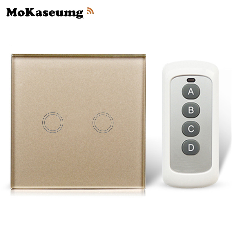 2 Gang 1 way Remote Switch 433mhz, Crystal Glass Switch Panel, EU Wall Touch Remote Switch Smart Switch 2 Gang 1 way 220V super mini universal qi standard wireless charger charging plate hyacinth