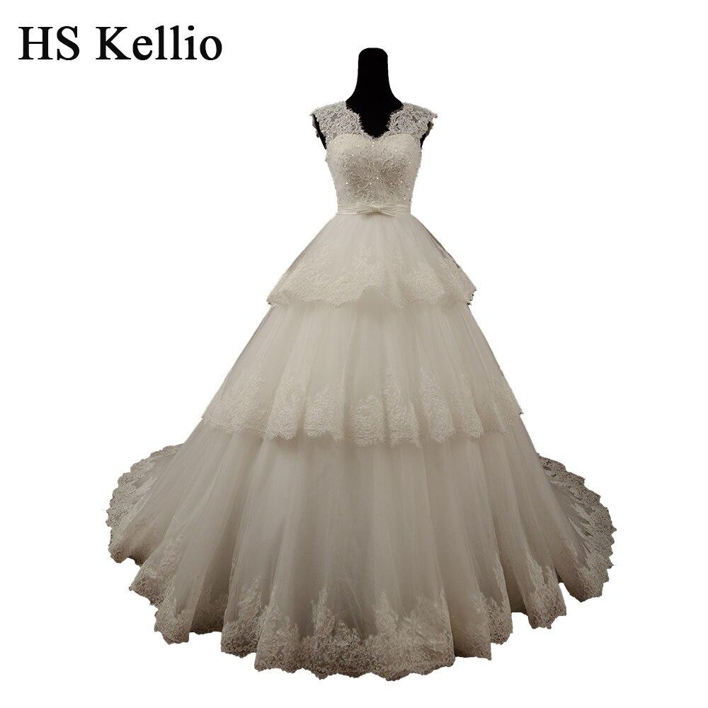 HS Kellio robes De mariée De mariée 2019 robe De bal Vintage en dentelle à plusieurs niveaux pour les mariées Vestido De Novias