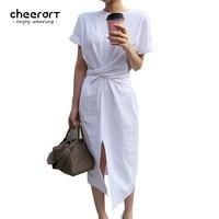 Cheerart Summer Wrap Dress Women Loose Simple Casual Long Side Split Bandage White Green Brown Korean