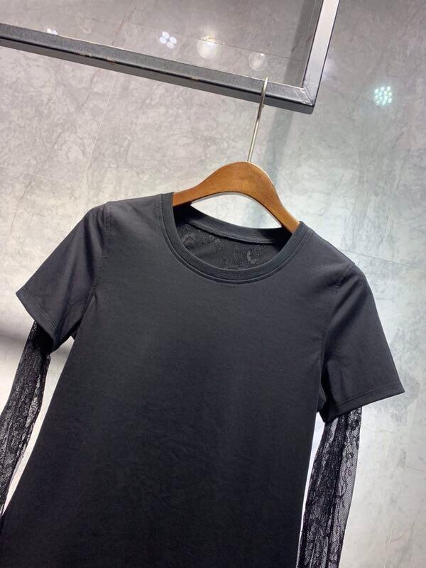 Nouveau Printemps Femmes 2019 Tops Manches T Ddxgz3 shirt Dentelle 51a7nwaRq