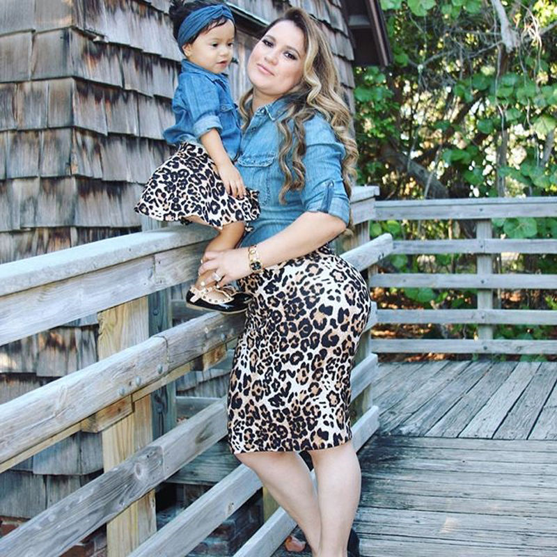 Family Matching Leopard Set Casual Women Mother Daughter Summer Autumn Baby Girl Denim Shirts+Leopard Skirts 2pcs Outfit Clothes