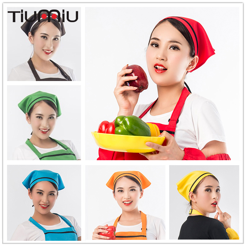 10pcs/lot Triangle Scarf Restaurant Cafe Bakery Kitchen Hot Pot Waiter Workwear Caps Women Food Service Workshop Hygienic Cap