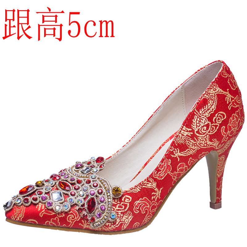 ФОТО Red wedding shoes high thin heels female bridal shoes pointed toe single shoes small yards 31 32 33 plus size 40 41 42 43