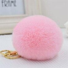Luxury Llavero 8cm Rabbit Fur Fluffy Keychains Keyring Ball Pompom Car Key Chain Women Puff Charm Shoulder Bags Accessories