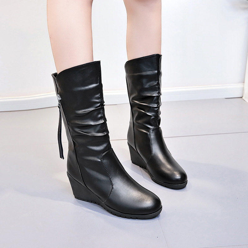 Autumn winter high heels boots women fashion platform wedges mid calf boots plus size black ladies shoes botas mujer fashion women boots 2017 high heels ankle boots platform shoes brand women shoes autumn winter botas mujer plus size 35 43