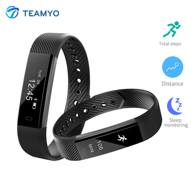 Teamyo Id115 Smart Band Fitness Tracker Health Bracelet Activity Pedometer Sports Wristband Watch For Ios Android