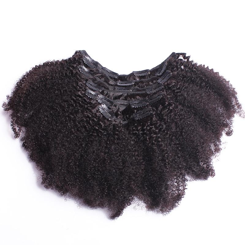 4B 4C Afro Kinky Curly Clip i Mänskliga Hårförlängningar - Mänskligt hår (svart) - Foto 2