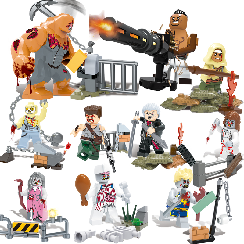 12pcs Super Heroes Building Blocks The Biochemical X-Men Zombie Crisis  Allen Bill Su Tyrant Model Bricks toys for children building blocks super heroes back to the future doc brown and marty mcfly with skateboard wolverine toys for children gift kf197