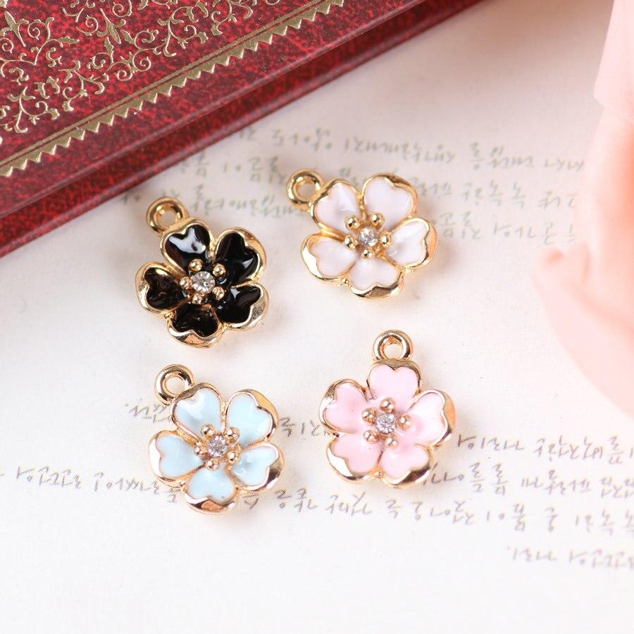 New 20PCS Oil Drop Rhinestone Core Flower DIY Jewelry Bracelet Necklace Pendant Charms Gold Tone Enamel Floating Charm