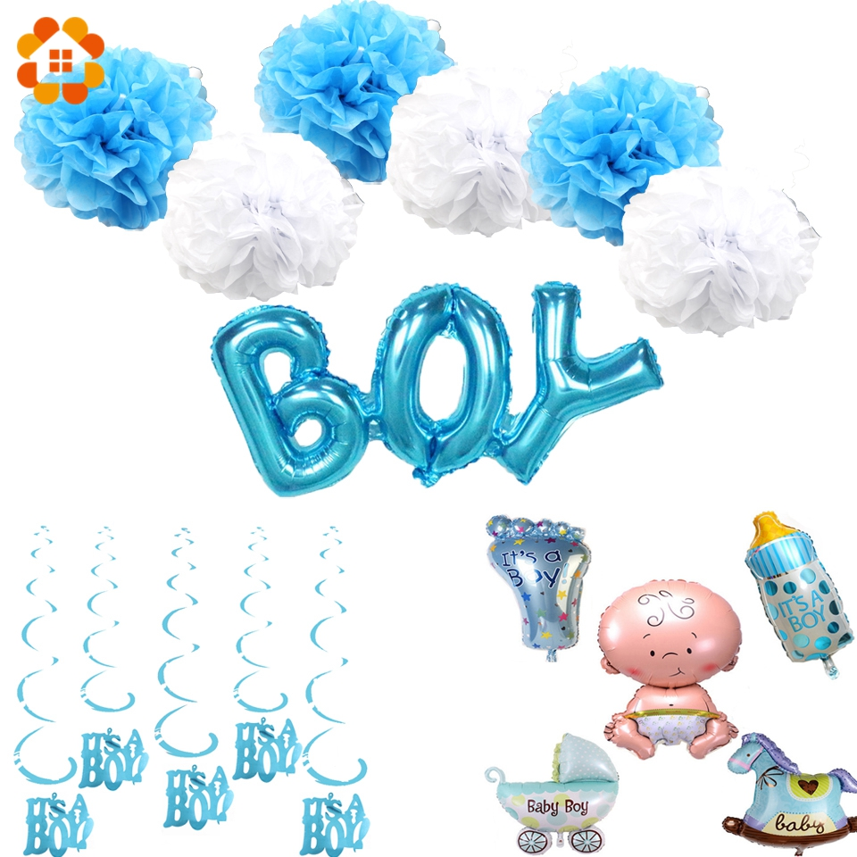 1 Set Boy&Girl Birthday Party Balloons Foil Balloons Paper Pompoms DIY Kids Birthday Party Decoration Baby Shower Party Supplies