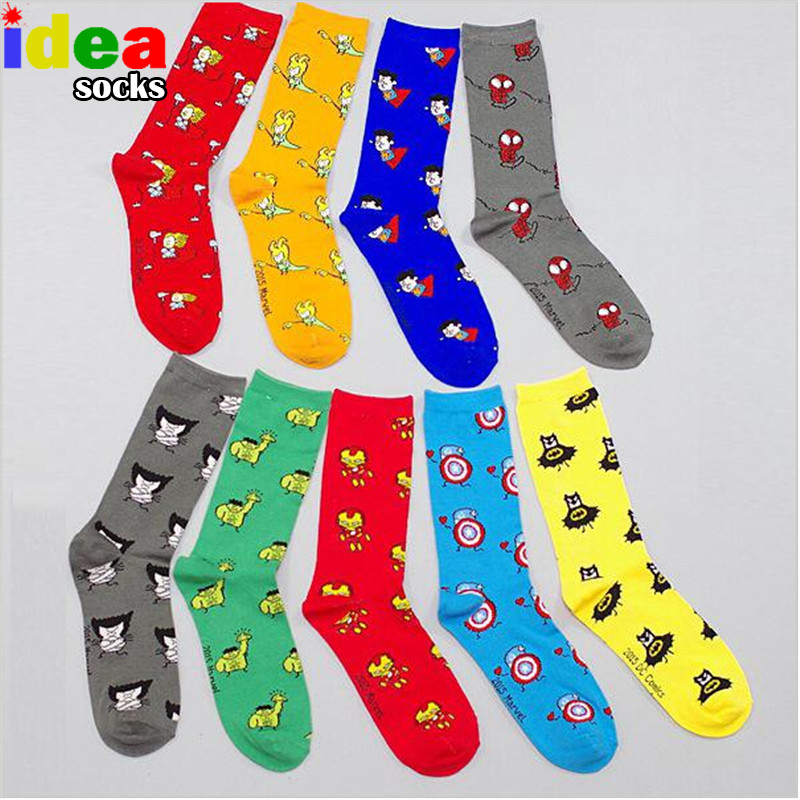 Marvel comics avenger captain america cartoon socks batman superman ironman hulk dot socks men odd future cotton funny socks