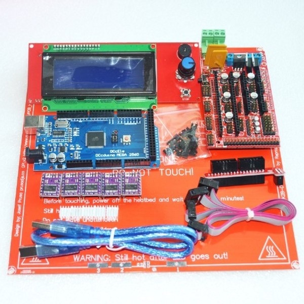 1pcs Mega 2560 R3 + 1pcs RAMPS 1.4 Controller + 5pcs DRV8825 Stepper Driver Module +1pcs LCD 2004 +1pcs MK2B for 3D Printer kit