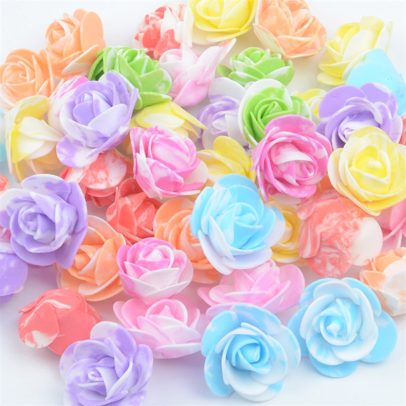 50PCS / bag mini multicolor PE foam rose head artificial rose flower handmade DIY wedding home decoration holiday party supplies