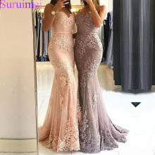 2020 Glamorous Sweetheart Spaghetti Straps Mermaid Evening Dresses Lace Appliques Prom Party Formal