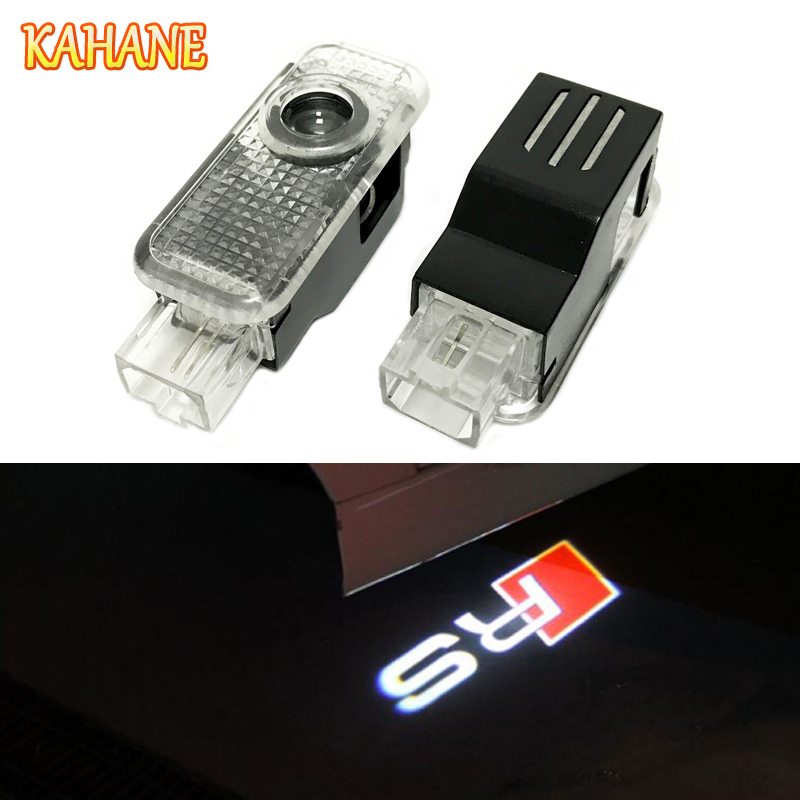 KAHANE 2x FOR Audi RS3 RS4 RS5 RS6 A3 A4 B4 B5 A5 A6 B6 A8 B7 C5 C6 S3 S4 S5 S6 S7 S8 Led Car light Door Laser Projector Light 2pcs car error free 18 led license number plate light white lamp for audi a3 s3 a4 s4 b6 b7 a6 s6 a8 q7