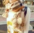 women's yarn scarf muffler cape dual-use ultra long plaid rabbit fur ball scarf free shipping