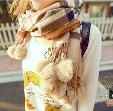 soft thermal women's yarn scarf muffler cape dual use ultra long plaid rabbit fur ball scarf Classic Plaid Shawl pink camel red
