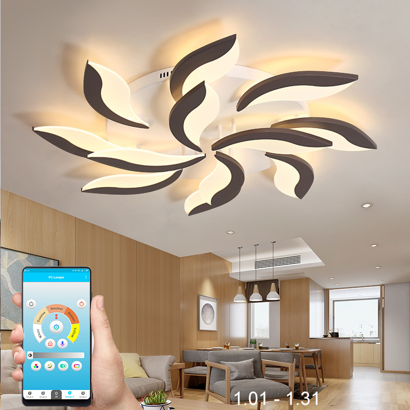 New led chandeliers for living room bedroom dining room acrylic iron body Interior home chandelier lamp