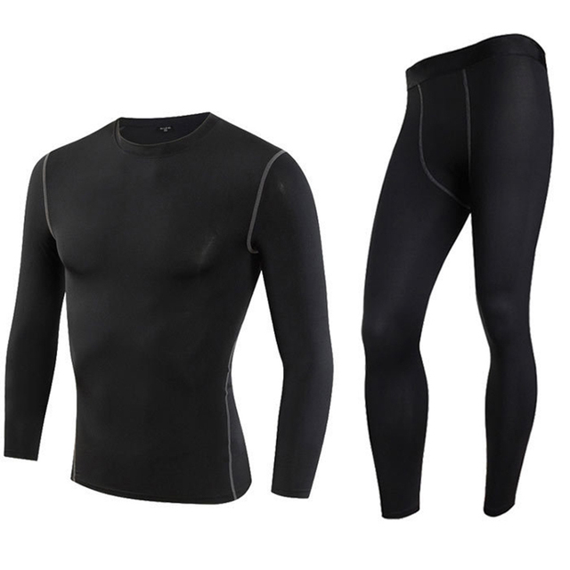 463b3fb80 BLACK Men's Thermal Underwear Set Motorcycle 4 Seasons Skiing Warm Base  Layers Sportwear Tight Long shirt & Tops Set clothing