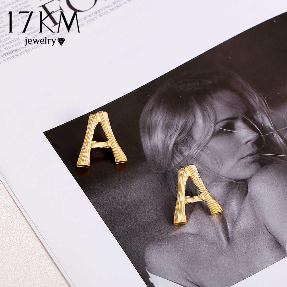 17KM Initial Letter Earrings For Women Girls 2019 Name Earrings Word Earrings Stud Earrings Whosale Volume Fashion Jewelry