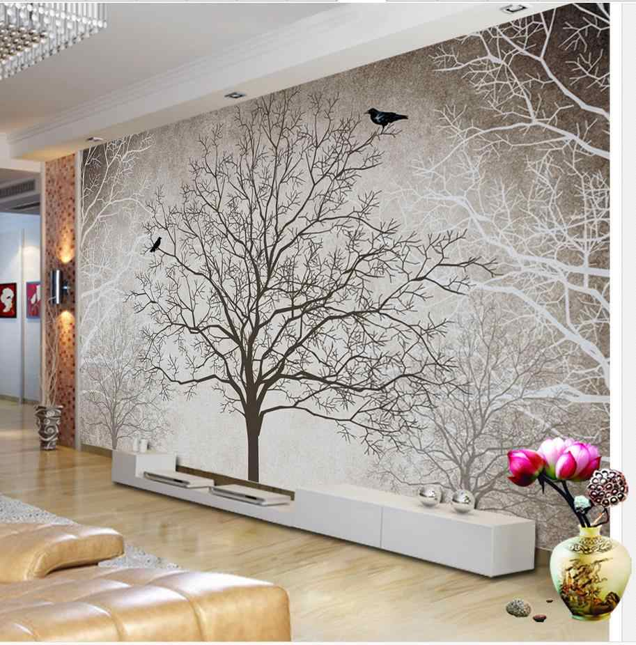 Retro black and white TV backdrop tree 3d room wallpaper landscape Home Decoration 3d mural designs