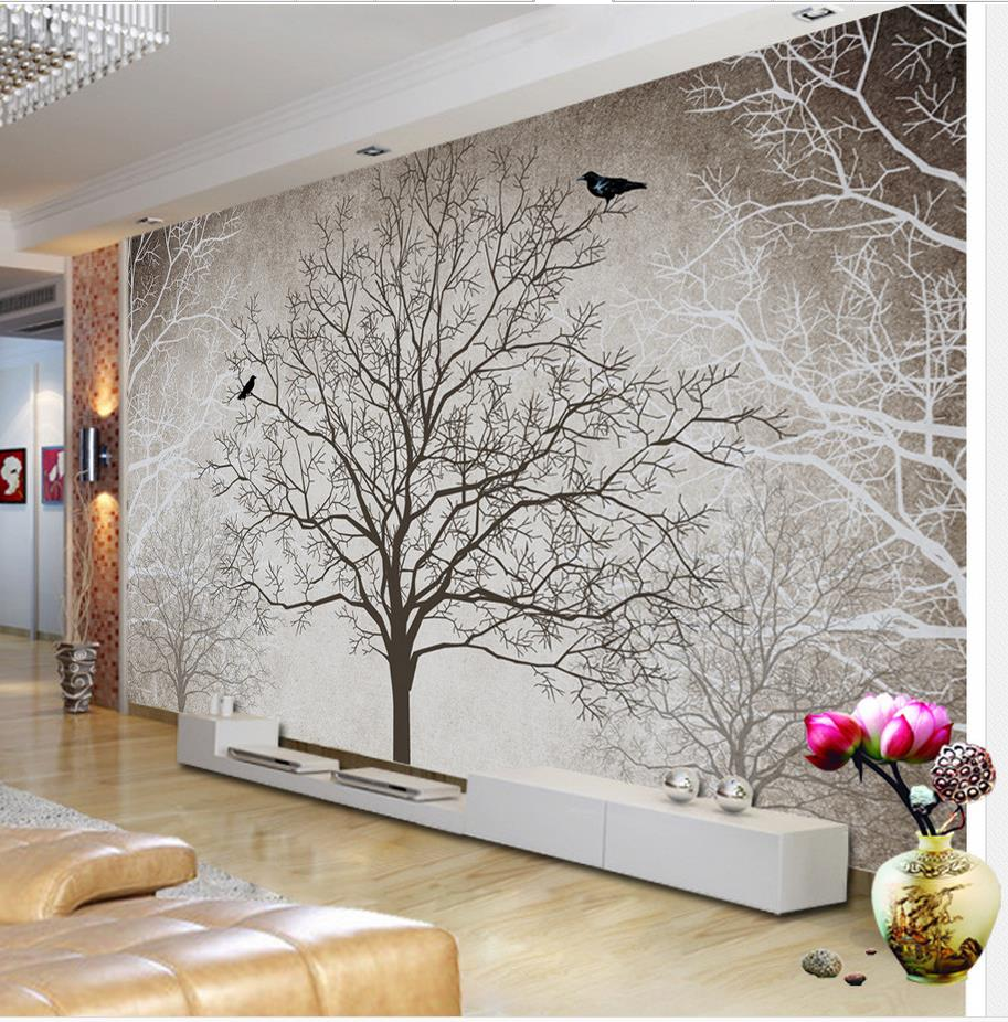 r tro noir et blanc tv toile de fond arbre 3d chambre papier peint paysage d coration de la. Black Bedroom Furniture Sets. Home Design Ideas