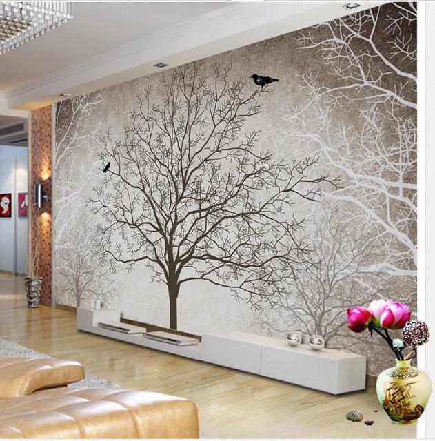 acheter r tro noir et blanc tv toile de fond arbre 3d chambre papier peint. Black Bedroom Furniture Sets. Home Design Ideas