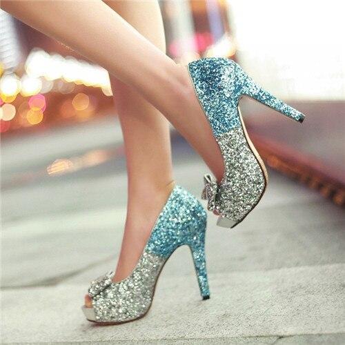 Scarpe Tacco Glitter