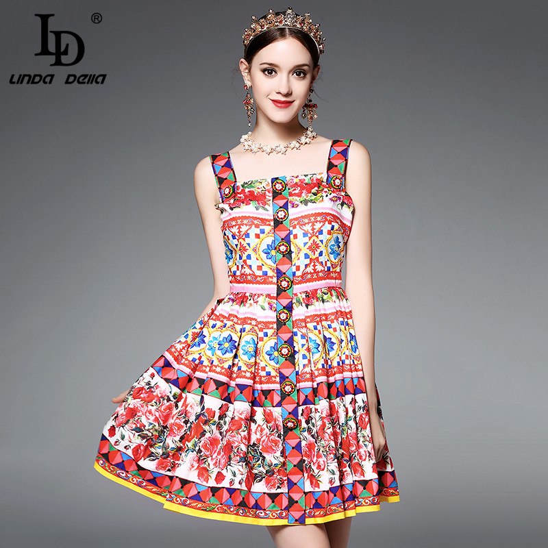 Buy Cheap High Quality Runway Designer Summer Dress Women's elegant Spaghetti Strap Colorful Button Red Rose Flower Floral Print Dress