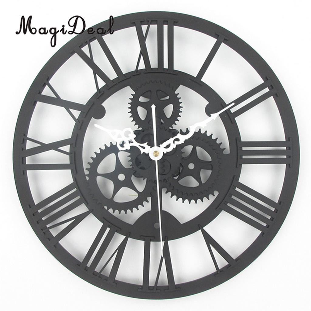 MagiDeal 35cm Round Gear Wall Clock Roman Numerals Open Face
