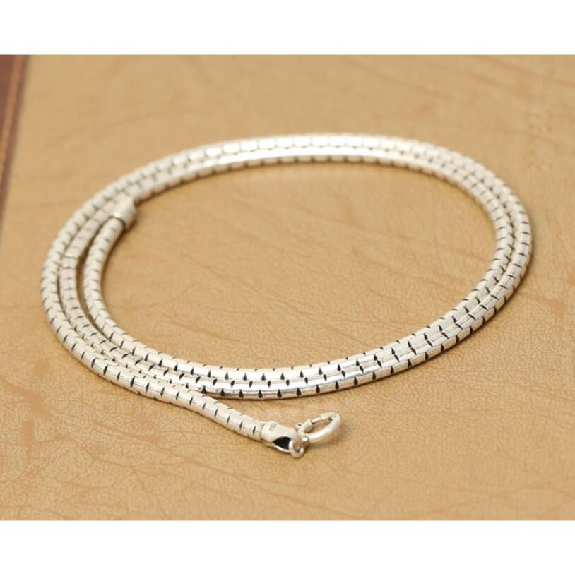 925 sterling silver men and women classic retro Thai silver 3m round box snake bone necklace
