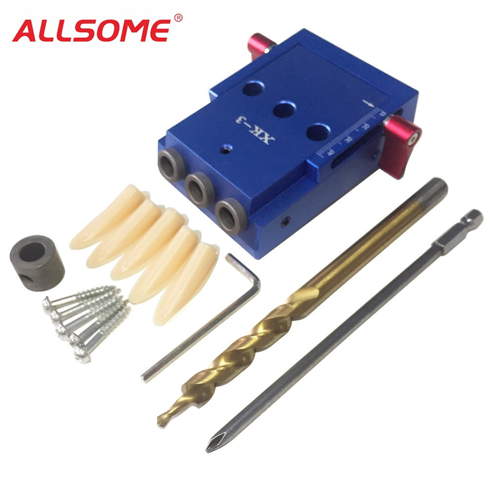 ALLSOME Woodworking Tool Pocket Hole Jig Woodwork Guide Repair Carpenter Kit System 9.5mm Drill Bit HT2201 pocket hole jig woodwork guide repair carpenter kit woodworking tool