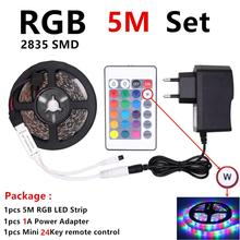 2835 5M RGB LED Strip Waterproof DC12V Fita Light  Flexible Tape Ledstrip With Controller and Adapter Neon 12V