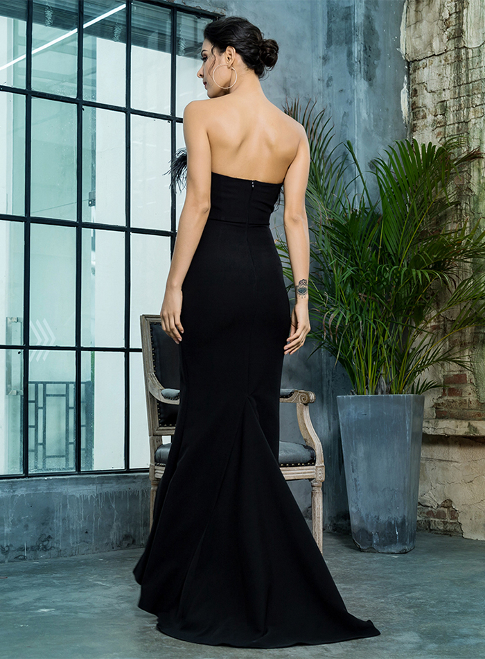 Black Strapless Cut Out Feather Long Dress 11