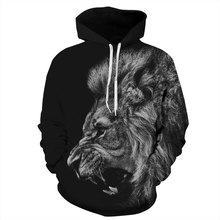 Mr.1991INC New Fashion Men/Women 3d Sweatshirts Print Ferocious Lion Black Thin Autumn Winter Hooded Hoodies Pullovers Tops