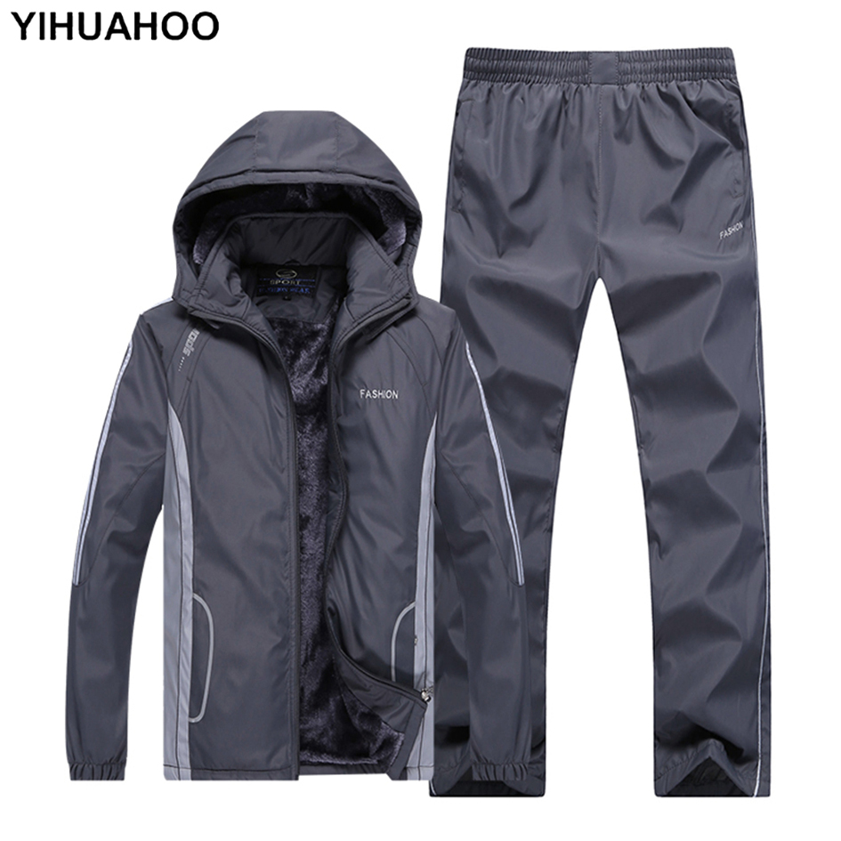 Men's Sportswear Winter Hooded Tracksuit Thick Warm Jacket+Pants Clothing Set Fur Velvet Track Suit Men Dropshipping MS-F855