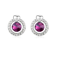 Fashion Crystal Jewelry Korean Sweet Stud Earrings Made with Swarovski Element Woman Brincos Accessories Orecchini Gift for Girl(China)