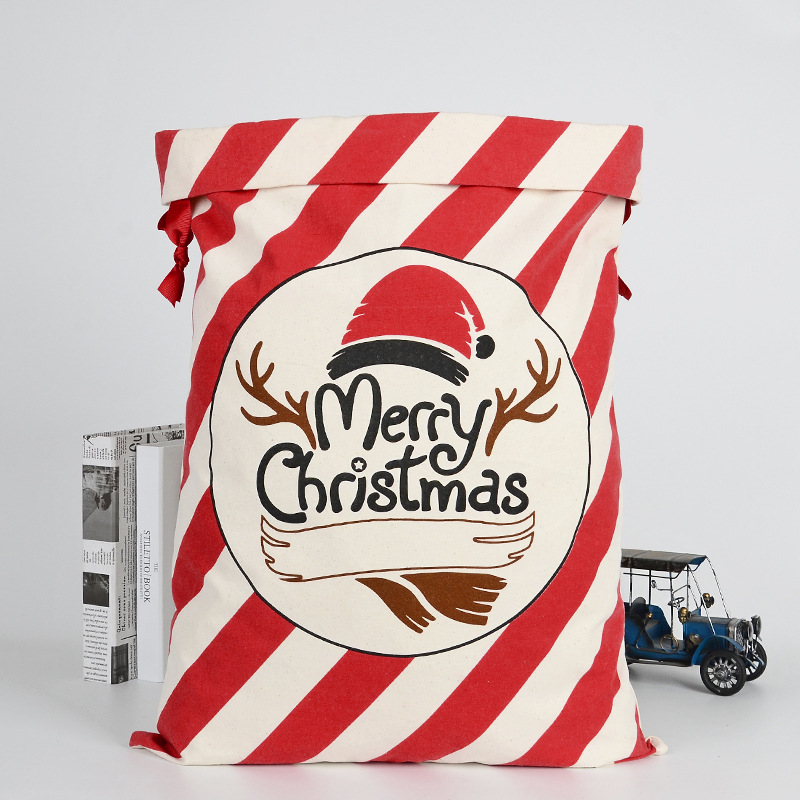 Cartoon New Drawstring Bags Christmas Gift Children Elk Christmas Gift Package Cotton Environmental Beam Canvas Candy Storag Bag