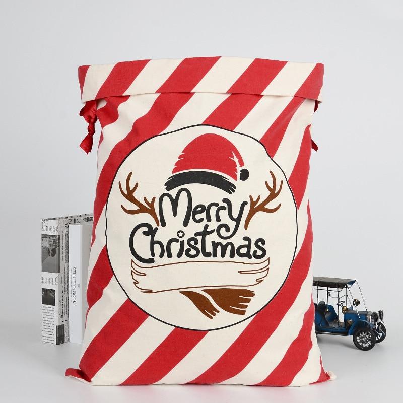 Cartoon New Drawstring Bags Christmas Gift Children Elk Christmas Gift Package Cotton Environmental Beam Canvas Candy Storag Bag
