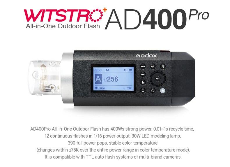 Godox AD400Pro TTL HSS Flash intégré 2.4G sans fil X système li-on batterie Flash extérieur avec émetteur Godox Xpro