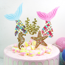 5pcs/lot Birthday Mermaid Party Cake Toppers Cupcake Topper Tail Sea Fish Decorations Baby Shower Kids Favors