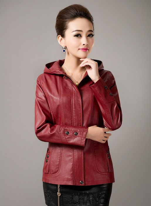 Leather   women jackets 2019 spring and autumn   leather   clothing with a hood slim short   leather   coat female 5XL big size blue coats