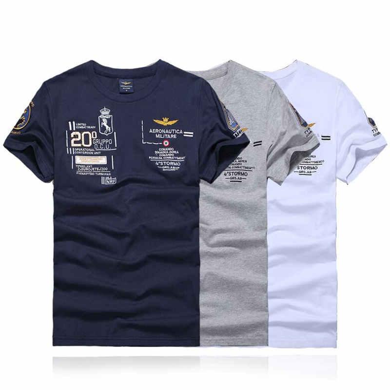 4c8af3eafd 2018 de Alta Qualidade Algodão Marca AERONAUTICA MILITARE Air Force One  T-shirt Bordado Curto