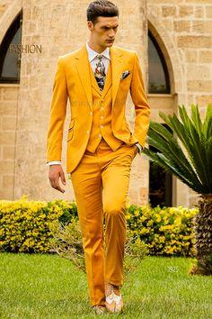 2017 Latest Coat Pant Designs Yellow Men Suit Slim Fit 3 Piece Suits Italian Tuxedo Custom Prom Party Blazer Terno Masculino D
