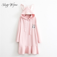 Shugo Wynne 2017 Autumn New Women Sweet Mori Girl Dresses Cute Rabbit Ears Hooded Long Sleeve