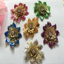 10Pcs/Lot Small Applique Patch 3D Flower Gold Sequin Crystal Embroidered Lace Fabric Sew On Wedding Dress Cloth Accessory 7*8CM 3d gold ribbon water solube embroidered fabric material tulle african lace applique for sew cloth wedding dress accessories diy