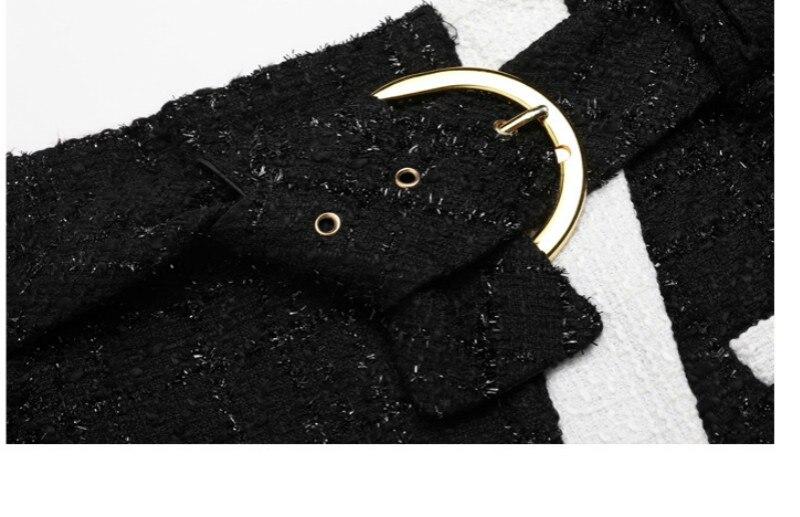 De Sexy Jupe Haut Gamme Laine Patchwork Ceintures Noir Split Mini 2019 Designer Micro Nouveau Courte Épaisse Vêtements Bureau Femmes Dames nFxwqYzIZa